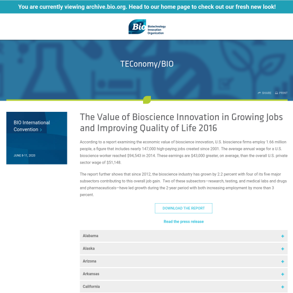 The Value of Bioscience Innovation in Growing Jobs and Improving Quality of Life 2016 - BIO