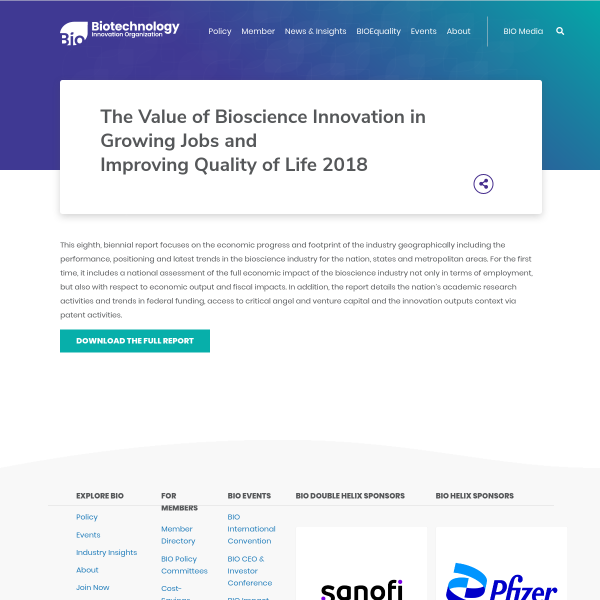 The Value of Bioscience Innovation in Growing Jobs and Improving Quality of Life 2018 - BIO