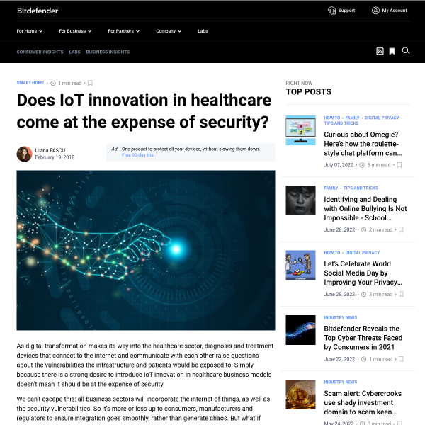 Does IoT innovation in healthcare come at the expense of security? - Bitdefender BOX Blog