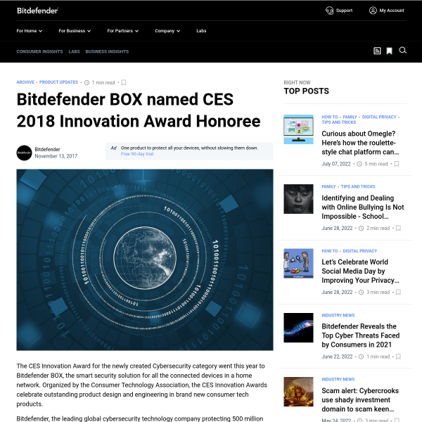 Bitdefender BOX named CES 2018 Innovation Award Honoree - Bitdefender BOX Blog