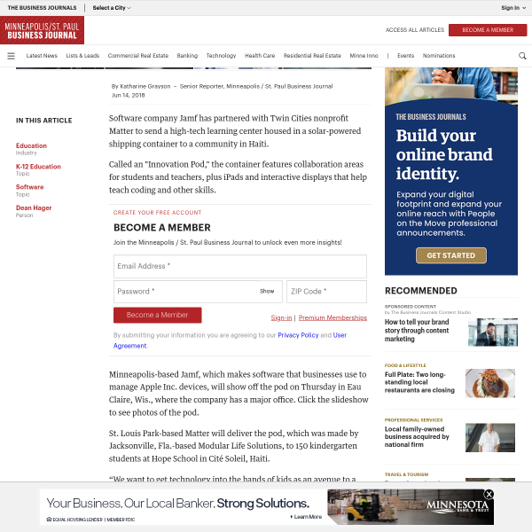 Jamf shows off 'innovation pod' headed to kids in Haiti through partnership with Matter (slideshow) - Minneapolis / St. Paul Business Journal