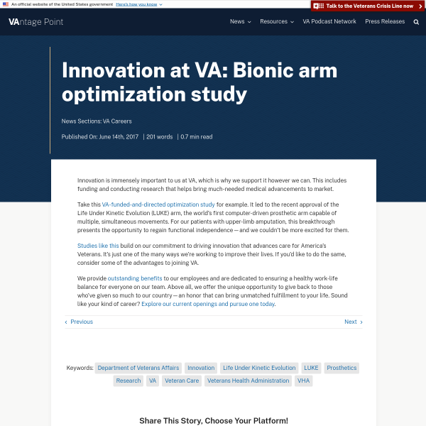 Innovation at VA: Bionic arm optimization study - VAntage Point