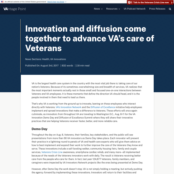 Innovation and diffusion come together to advance VA's care of Veterans - VAntage Point