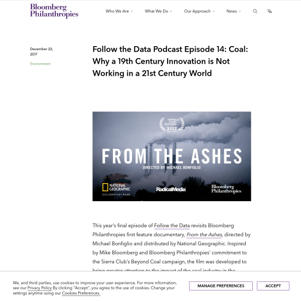 Follow the Data Podcast Episode 14: Coal: Why a 19th Century Innovation is Not Working in a 21st Century World - Bloomberg Philanthropies
