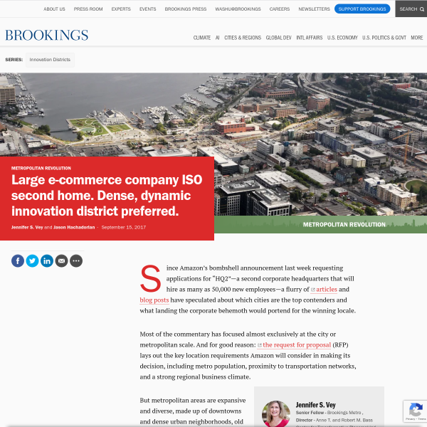 Large e-commerce company ISO second home. Dense, dynamic innovation district preferred.