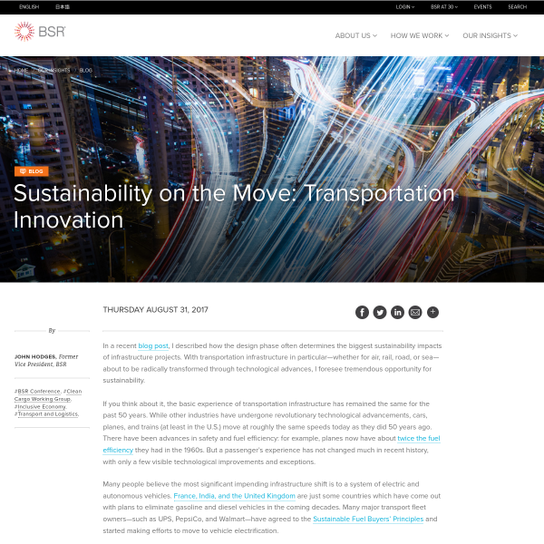 Sustainability on the Move: Transportation Innovation - Blog - BSR