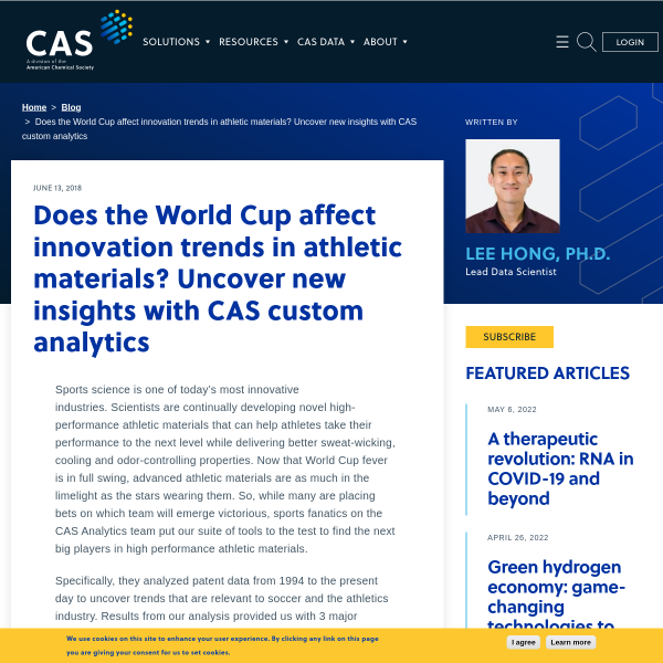 Does the World Cup affect innovation trends in athletic materials? Uncover new insights with CAS custom analytics