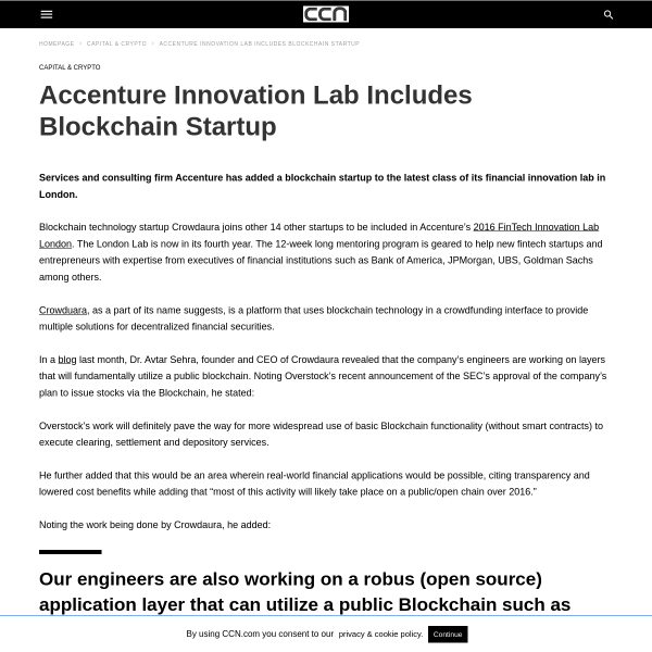Accenture Innovation Lab Includes Blockchain Startup