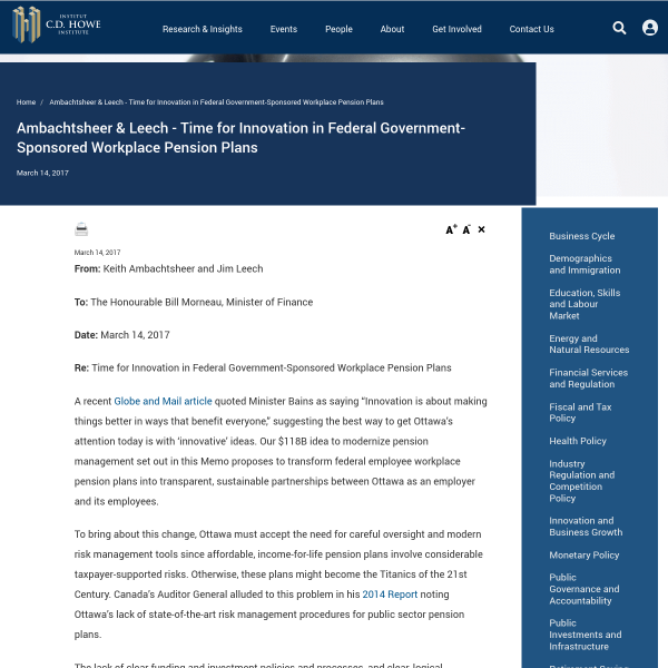 Ambachtsheer & Leech - Time for Innovation in Federal Government-Sponsored Workplace Pension Plans
