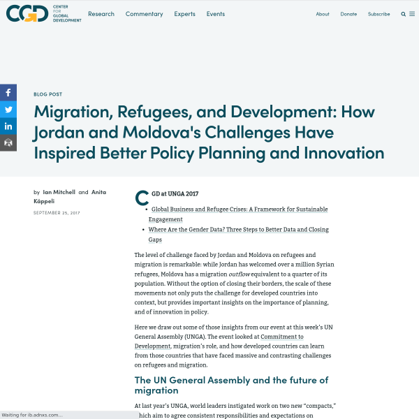 Migration, Refugees, and Development: How Jordan and Moldova's Challenges Have Inspired Better Policy Planning and Innovation