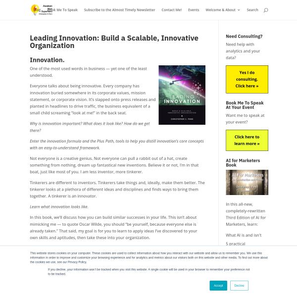 Leading Innovation: Build a Scalable, Innovative Organization - Christopher S. Penn Marketing Blog