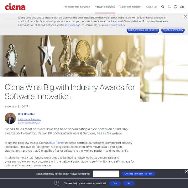 Ciena Wins Big with Industry Awards for Software Innovation - Ciena