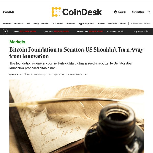 Bitcoin Foundation to Senator: US Shouldn't Turn Away from Innovation