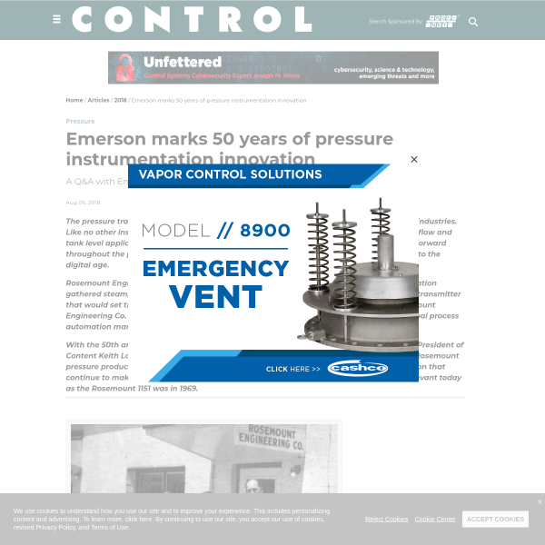 Emerson marks 50 years of pressure instrumentation innovation