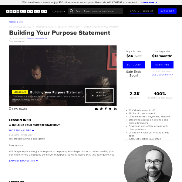 Building Your Purpose Statement from Leading Innovation with Shawn Hunter - CreativeLive