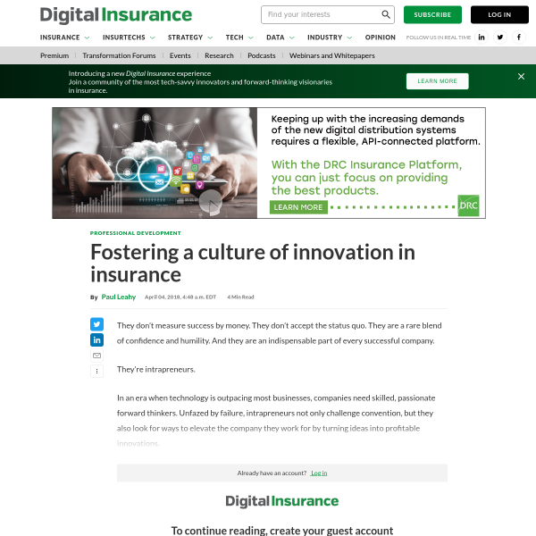 Fostering a culture of innovation in insurance