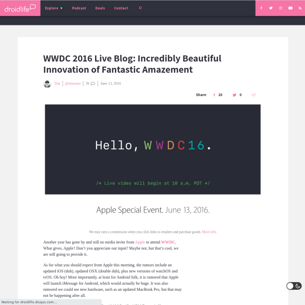 WWDC 2016 Live Blog: Incredibly Beautiful Innovation of Fantastic...