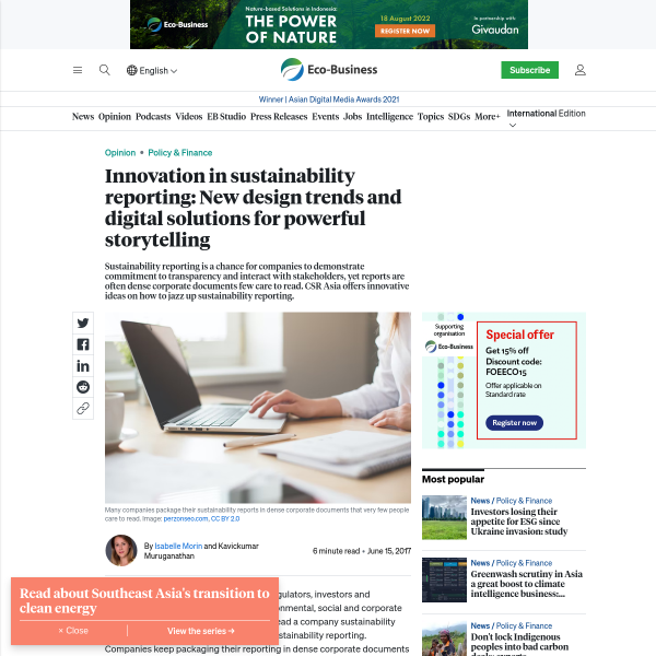 Innovation in sustainability reporting: New design trends and digital solutions for powerful storytelling