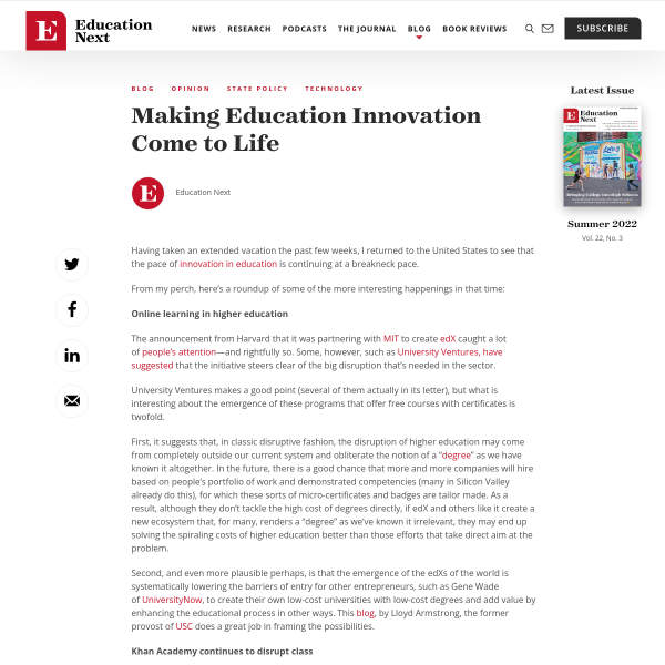 Making Education Innovation Come to Life - Education Next
