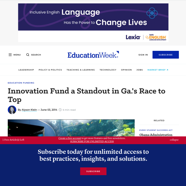 Innovation Fund a Standout in Ga.'s Race to Top