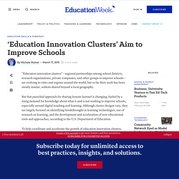 Education Innovation Clusters' Aim to Improve Schools