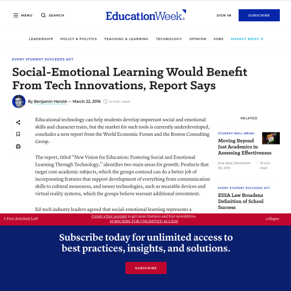 Social-Emotional Learning Would Benefit From Tech Innovations, Report Says