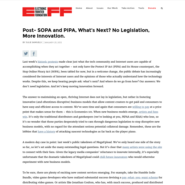 Post- SOPA and PIPA, What's Next? No Legislation, More Innovation.