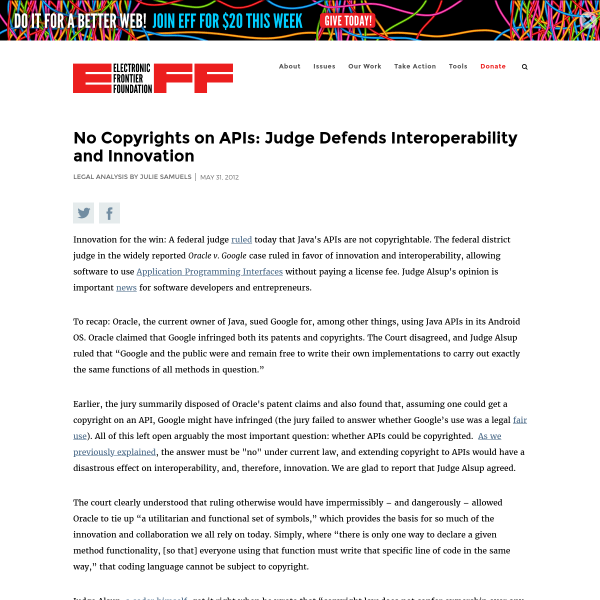 No Copyrights on APIs: Judge Defends Interoperability and Innovation
