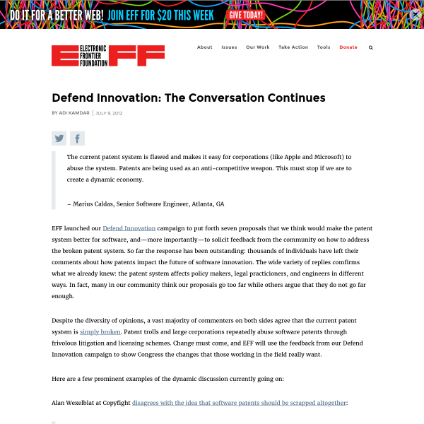 Defend Innovation: The Conversation Continues
