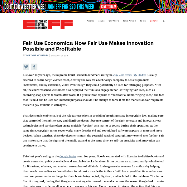 Fair Use Economics: How Fair Use Makes Innovation Possible and Profitable