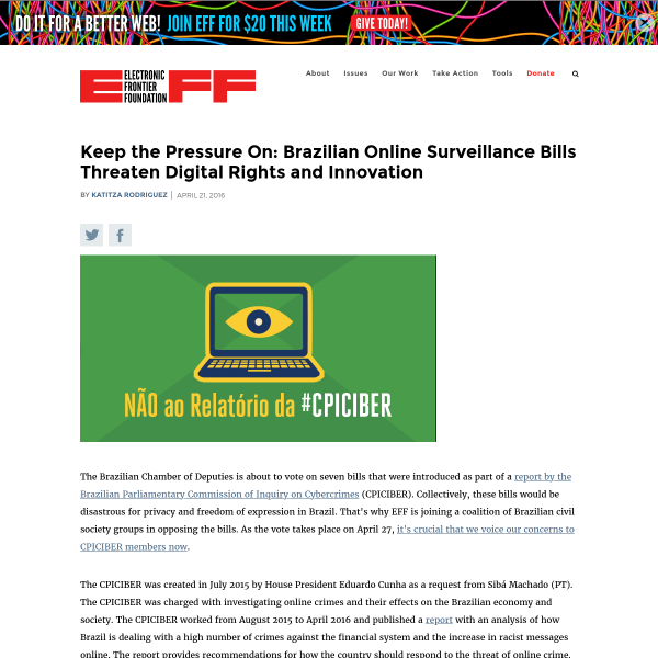 Keep the Pressure On: Brazilian Online Surveillance Bills Threaten Digital Rights and Innovation