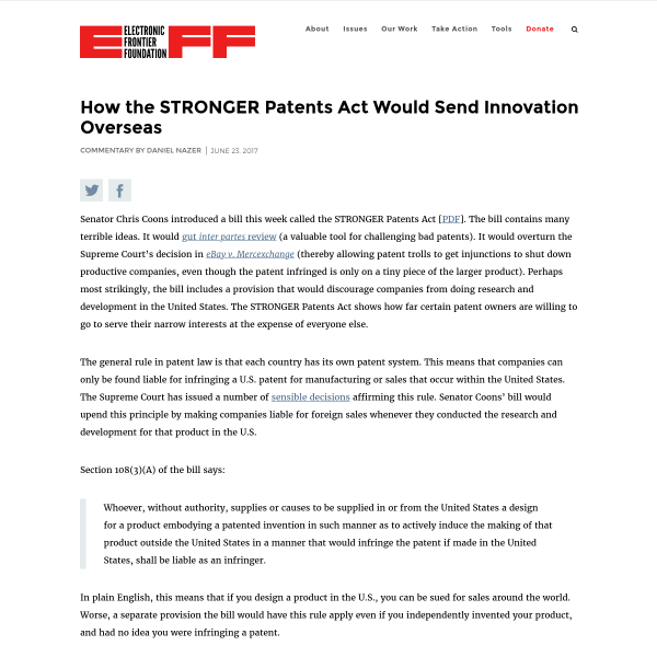 How the STRONGER Patents Act Would Send Innovation Overseas