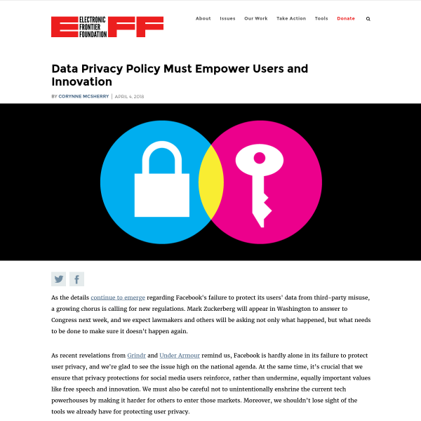 Data Privacy Policy Must Empower Users and Innovation