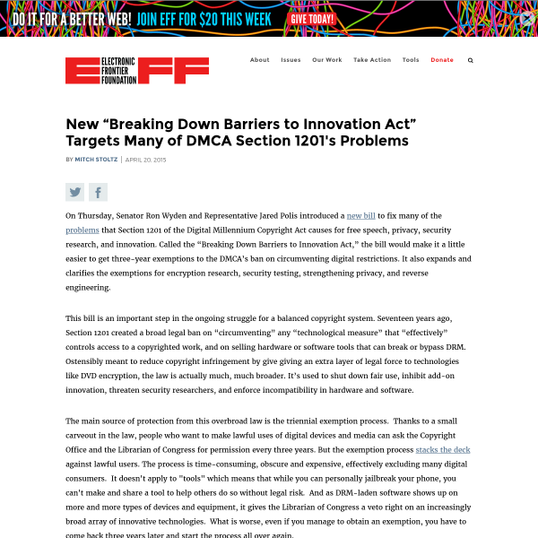 "New ""Breaking Down Barriers to Innovation Act"" Targets Many of DMCA Section 1201's Problems"