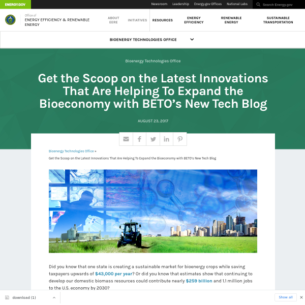 Get the Scoop on the Latest Innovations That Are Helping To Expand the Bioeconomy with BETO's New Tech Blog