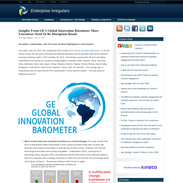 Insights From GE's Global Innovation Barometer Show Executives Need To Be Disruption Ready - Enterprise Irregulars