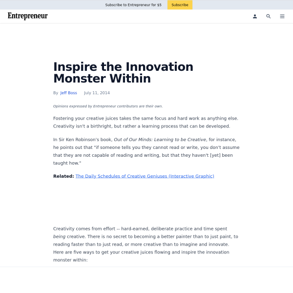 Inspire the Innovation Monster Within