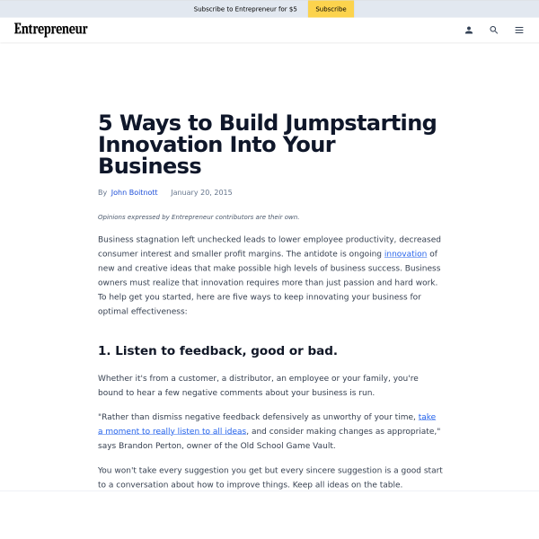 5 Ways to Build Jumpstarting Innovation Into Your Business