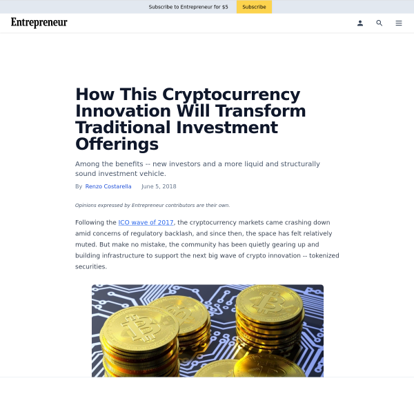 How This Cryptocurrency Innovation Will Transform Traditional Investment Offerings