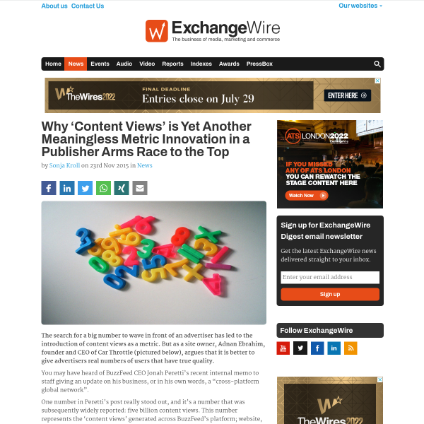 Why 'Content Views' is Yet Another Meaningless Metric Innovation in a Publisher Arms Race to the Top - ExchangeWire.com