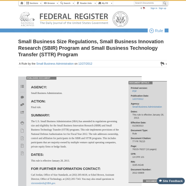 Small Business Size Regulations, Small Business Innovation Research (SBIR) Program and Small Business Technology Transfer (STTR) Program