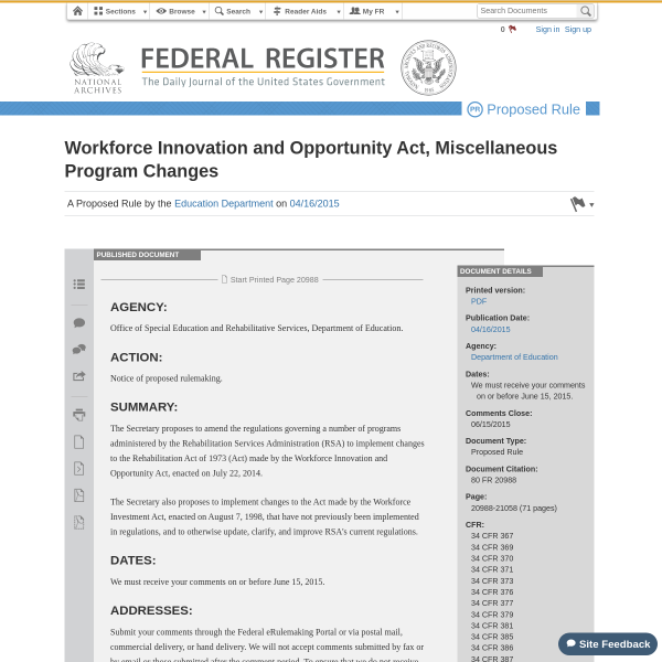 Workforce Innovation and Opportunity Act, Miscellaneous Program Changes