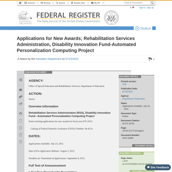 Applications for New Awards; Rehabilitation Services Administration, Disability Innovation Fund-Automated Personalization Computing Project