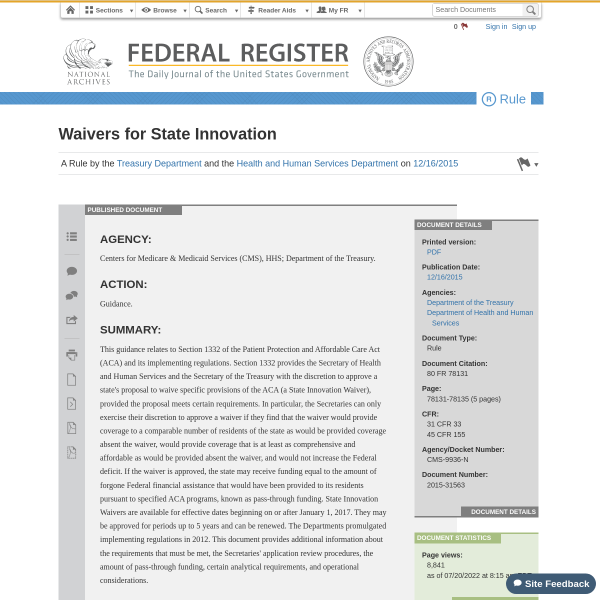 Waivers for State Innovation