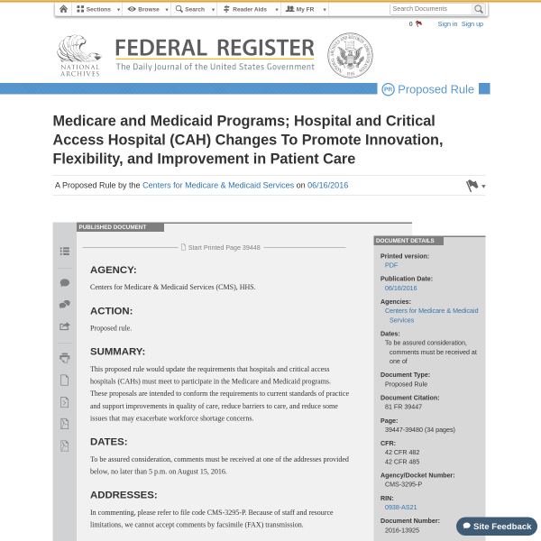 Medicare and Medicaid Programs; Hospital and Critical Access Hospital (CAH) Changes To Promote Innovation, Flexibility, and Improvement in Patient Care