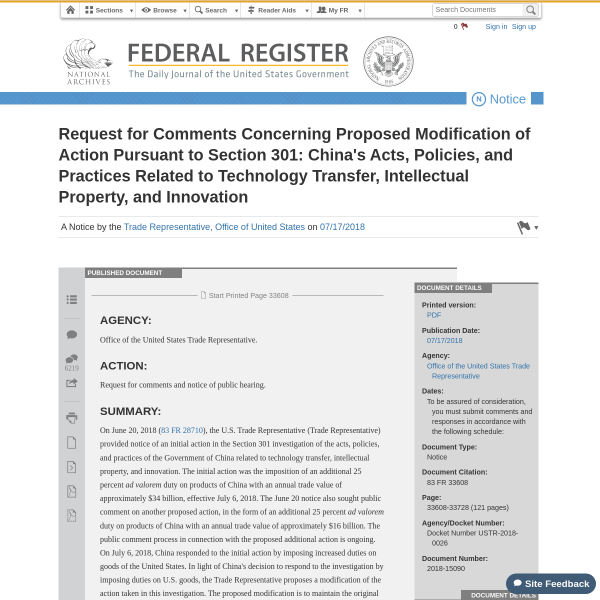 Request for Comments Concerning Proposed Modification of Action Pursuant to Section 301: China's Acts, Policies, and Practices Related to Technology Transfer, Intellectual Property, and Innovation