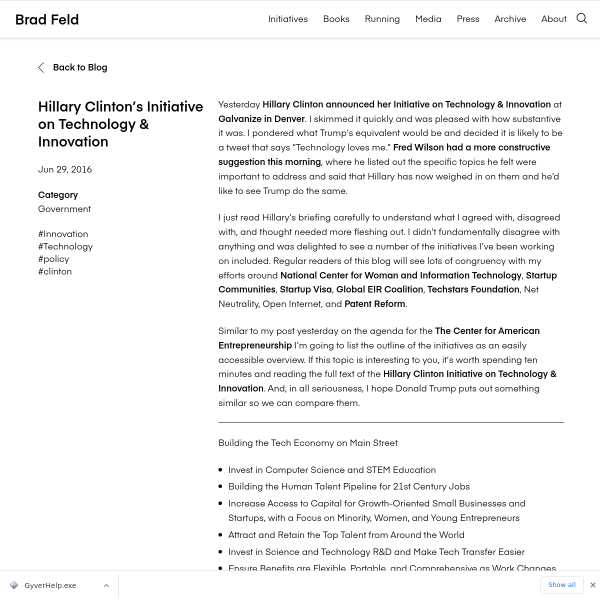 Hillary Clinton's Initiative on Technology & Innovation - Feld Thoughts