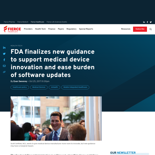 FDA finalizes new guidance to support medical device innovation and ease burden of software updates