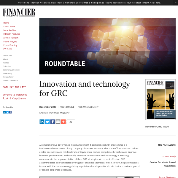ROUNDTABLE: Innovation and technology for GRC