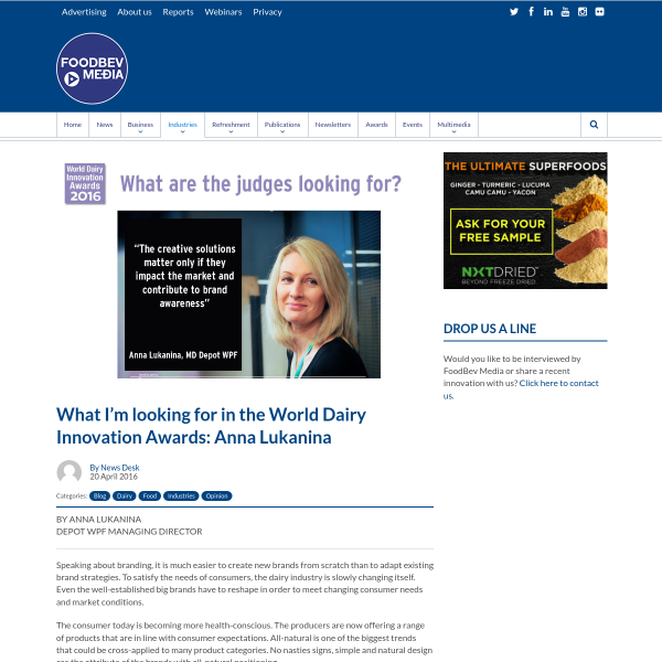 What I'm looking for in the World Dairy Innovation Awards: Anna Lukanina